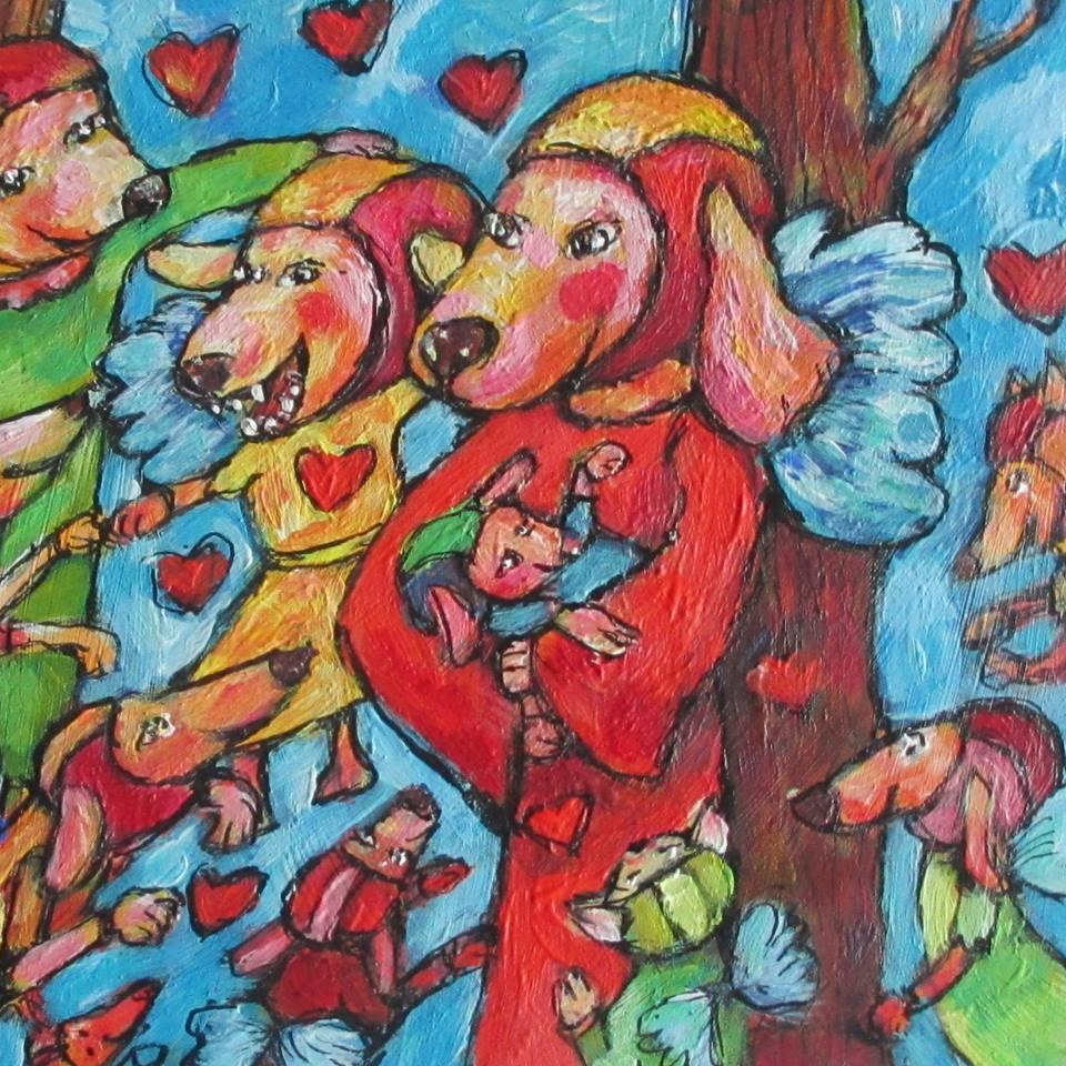 Voorbeeld Doggy-Elf troost urn schildering deksel