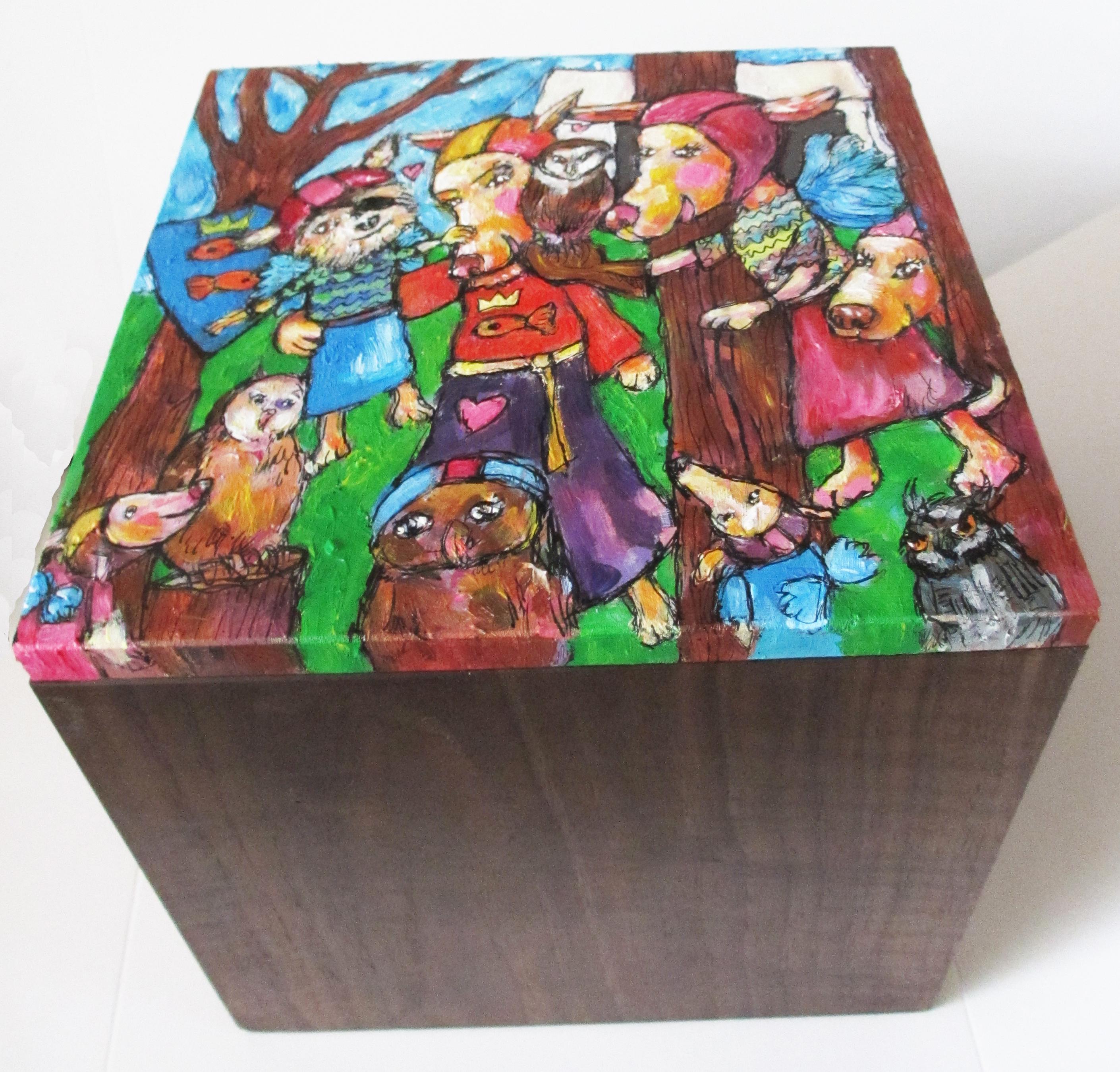 Opdracht  hier met zicht op het massieve notenhout .. met veel liefde gemaakte schildering